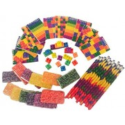 Brick Building Blocks Party Favor Novelty Toys Set - Block Pencils, Mini Note Pads, Erasers, Ball Mazes, Bags. 60 Piece Bundle for Children Lego Birthdays, Goody Bags, School Prize Boxes, Halloween by Buckets, Bags & Bundles