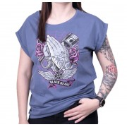 utcai póló női - HOLLY HAND VINTAGE BLUE EXT - BLACK HEART - 010-0180-BLU