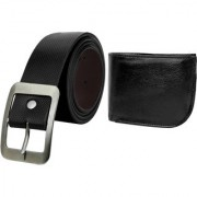 Crude Combo of Black Leather Belt Wallet rg696 for Men's Boy's