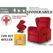 Il Benessere Poltrona Relax Luna Sfoderabile 2 Motori con Alzapersona e Kit Roller Tessuto Lavabile Rosso Bordeaux Consegna 48 ore Prodotto Italiano