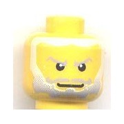 Lego Castle - Yellow Heads for Minifigure King with Beard Gray Fading to White Hair, White Pupils Pattern (King Mathias)- Lot of 10 Loose Heads