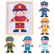 Iplay, Ilearn Magnetic Puzzle Wooden Dolls Toys Deals, Matching Game Dress-up Jigsaw, Fireman Dress Doll, Smart Wood Dressup Magnets, Learning for Ages 2, 3, 4 Year Olds Kids, Boys, Girls
