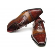 Paul Parkman Cap Toe Hand Painted Leather Upper Leather Sole Oxford Shoes Camel & Red 024-CML-BRD