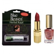 Blue Heaven Xpression Lipstick Cb 028 Xpression Nail Paint 931 Herbal Kajal Combo.(Set of 3)