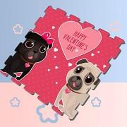 Yagqiny Tarjeta de felicitación Día de San Valentín Cute Pugs Kids Play Mat Puzzle Puzzle Mats para Ejercicio 8 Piezas 60 X 60 X 1.2 cm Puzzle de Espuma Azulejos