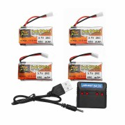 4Pcs ZOP POWER 3.7V 650mAh 25C 1S Lipo Battery White Plug With Charger For RC Models