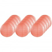 Merkloos 15x Luxe bol lampionnen zalm roze 25 cm