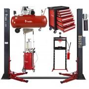 Zestaw Maszyn Automatycznych 5w1 Podnośnik Dwukolumnowy + Kompresor + Zlewarko-wysysarka + Szafka narzędziowa + Prasa hydrauliczna REDATS