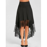 rosegal High Low Lace Trimmed Long Skirt