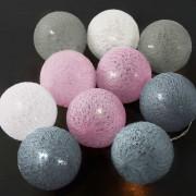 LES BELLES IN THE MOOD Světelný řetěz 10 koulí - šedá/růžová/modrá/bílá
