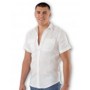 Modern Male White Linen Shirt