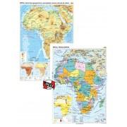 Africa. Harta fizico-geografica si a principalelor resurse naturale de subsol si Africa. Harta politica – Duo Plus 70x100 cm