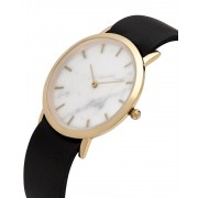 Analog Watch Classic White Marble Dial & Black Strap Watch GB-CW