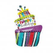 Balon folie Happy Birthday tort 61 cm x 94 cm