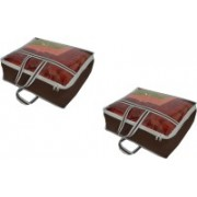 PRAHAN INTERNATIONAL Non Woven Blanket Cover Bag With Handle Pack Of 2 PI-C2B002(Brown)