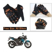 AutoStark Gloves KTM Bike Riding Gloves Orange and Black Riding Gloves Free Size For Yamaha FZ-S