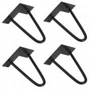 [en.casa]® Hairpin leg hajtűláb 20 cm stílusos asztalláb 4 darabos szett fekete kétágú