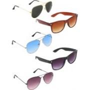 Zyaden Aviator, Aviator, Aviator, Wayfarer, Wayfarer Sunglasses(Black, Blue, Violet, Brown, Black)