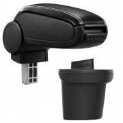 [pro.tec]® Lakťová opierka pre Nissan Juke - lakťová opierka - s odkladacím priestorom - koženka - čierna, biele prešitie