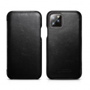 ICARER Curved Edge Retro Genuine Leather Cell Shell Cover for iPhone 11 Pro Max 6.5 inch - Black