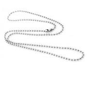 catena collana palline acciaio tipo militare per targa pendente girocollo spessore 2,00 mm (90 Centimetri)