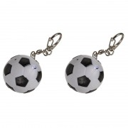 Geen 2x Voetbal sleutelhangers met licht en geluid 3,5 cm