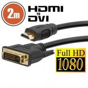 DVI-D / HDMI kábel - 2 m aranyozott csatlakozóval