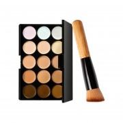 Paleta De Correctores 15 Corrector Y Cepillo Profesional Maquillaje