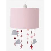 VERTBAUDET Abajur para pendurar, com estrelas e nuvens rosa liso com decoração