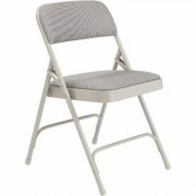 National Public Seating Steel Folding Chairs with Fabric Padded Seat and Back - Set of 4, Greystone/Grey, Model 2202