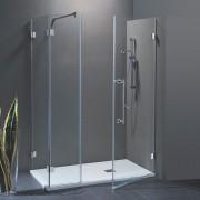 Porta doccia con fisso in linea Laura da 100 cm con fisso laterale da 80 cm in cristallo 8 mm Cerniere Satinato DX