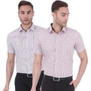 Dudlind Set of 2 Mens Formal Half Sleeves Checks Shirt Regular Fit   Combo of 2 Mens Shirts for Office and Business