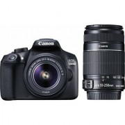 Canon EOS 1300D DSLR Camera Body with Dual Lens: EF-S 18-55 mm IS II + EF-S 55-250 mm F4 5.6 IS II (16 GB SD Card)(Black)