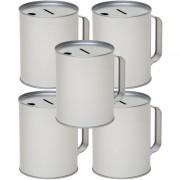 Geen 5x Zilveren blanco collectebussen 10 x 13 cm