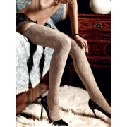 Baci Champagne Lace Stockings with Lavish Flower Ornamentation 1155