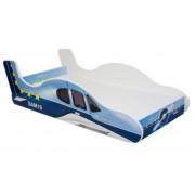 MamaKiddies 160x80-as gyerekágy repülős dizájnnal - kék-fehér színű mintával - matraccal
