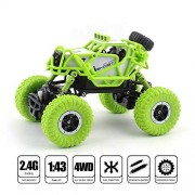 crazy toys M-RC Waterproof 1:43 Scale 2.4 GHZ Dirt Drift Remote Controlled Rock Crawler RC Monster Car, 4 Wheel Drive