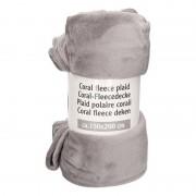 Merkloos Donker grijs gemeleerde fleece deken 150 x 200 cm