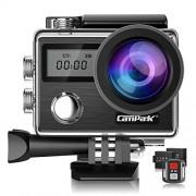 Campark X20 Cámara de acción 4K de 20 MP con control remoto de visualización táctil EIS cámara impermeable 30 M 170 ángulo de visión ajustable 2 baterías y kit de accesorios compatible con GoPro