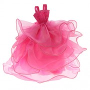 Segolike 26cm Doll Clothes Handmade Wedding Dress Party Gown Clothes Outfits for Barbie Doll Girl's Birthday Gift - Rose Red Braces Dress