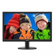 "Монитор 23.6"" (59.94 cm) Philips 243V5LHSB, TFT-LCD панел, Full HD, 1 ms, 10 000 000:1, 250cd/m2, HDMI, DVI"