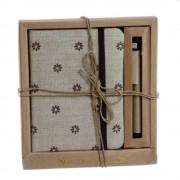Mini Agenda cu pix acoperita cu material textil floral