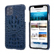 Alligator Head Texture Genuine Leather Coated PC Phone Shell Protective Case for iPhone 11 Pro Max 6.5 inch - Blue