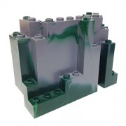 Lego Parts: Mountain Brick 4 x 10 x 6 Rock Panel Rectangular (BURP) (Marbled Dark Green Pattern)