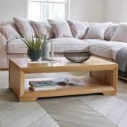 Oak Furnitureland Natural Solid Oak Coffee Tables - Coffee Table - Bevel Range - Oak Furnitureland