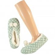 Apollo Mintgroene ballerina huispantoffels/sloffen stipjes print voor meisjes maat 31-33