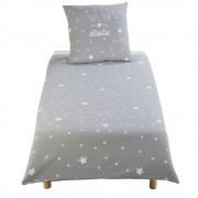 Maisons du Monde Juego de cama infantil de algodón gris con estampado de estrellas blancas 140x200