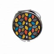 Huayuanhurug Espejo redondo portátil de bolsillo de mano para maquillaje para mujeres y niñas 2,75 pulgadas, Colorido patrón inspirado en la naturaleza con follaje de colores vivos y lunares.