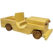 BuzyKart Beautiful Wooden Classical Vintage Open Car Jeep Toy Cum Showpiece