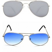 Magjons Fashion Combo Of Blue And Grey Lens Aviator Sunglasses